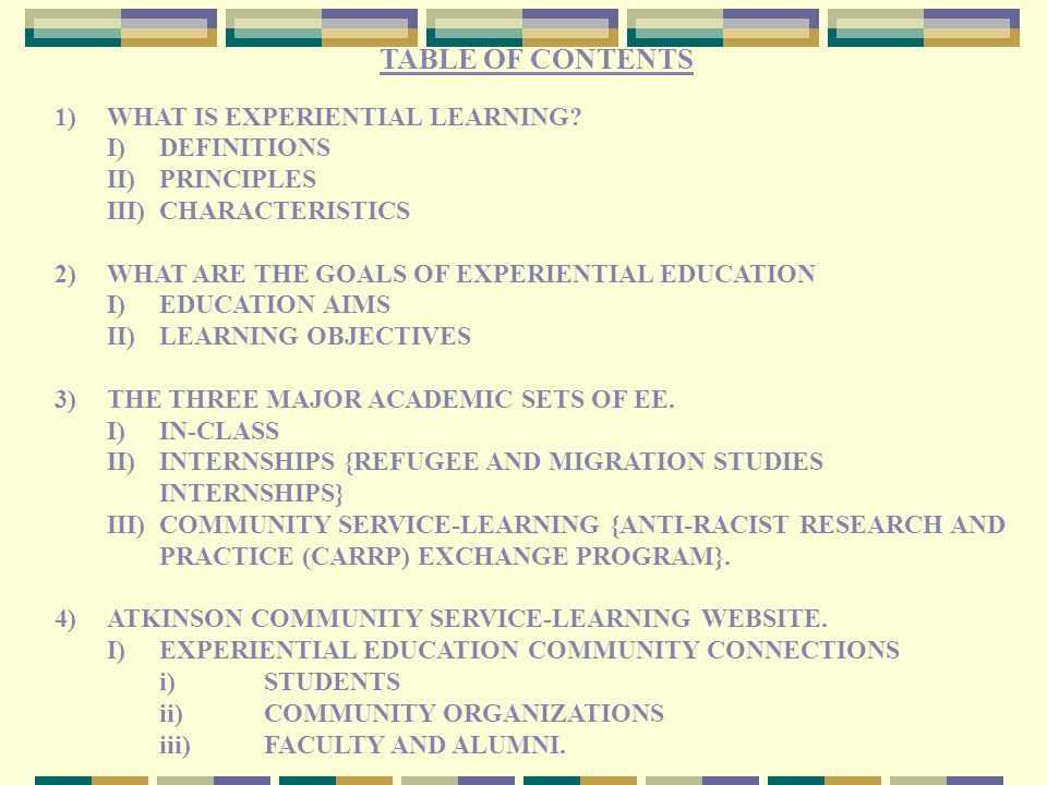 AN EXPERIENTIAL EDUCATION PLAN