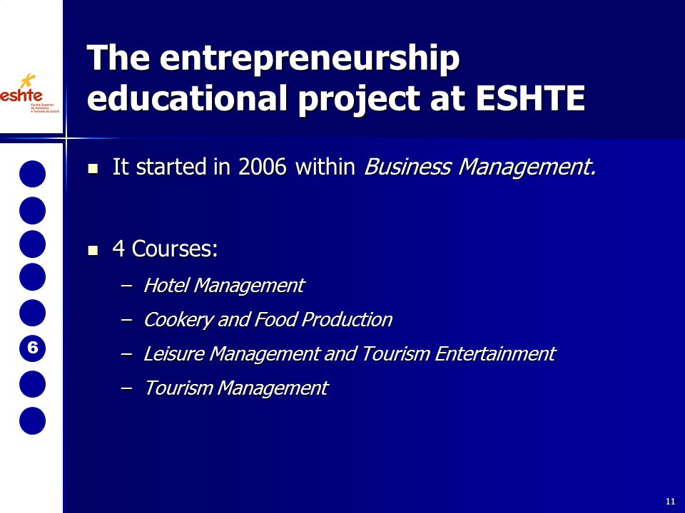 11 The entrepreneurship educational project at ESHTE It started in 2006 within Business Management.