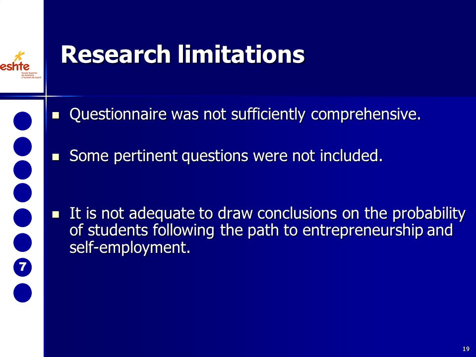 19 Research limitations Questionnaire was not sufficiently comprehensive. Questionnaire was not sufficiently comprehensive. Some pertinent questions w