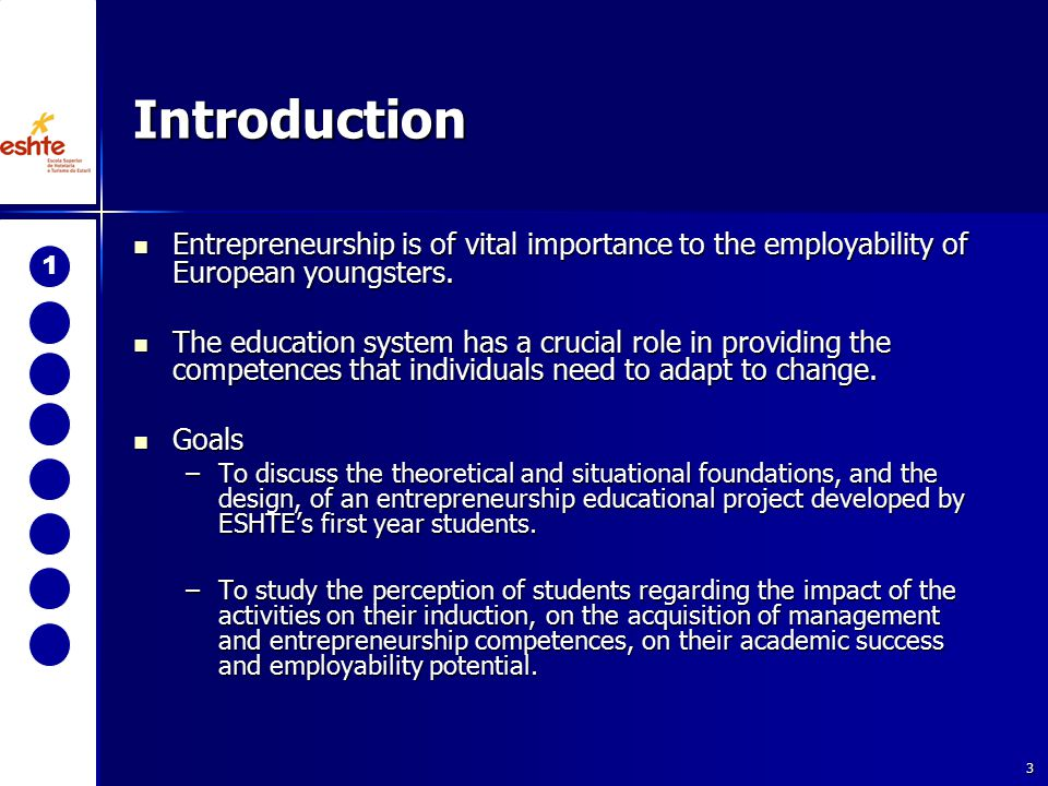 3 Introduction Entrepreneurship is of vital importance to the employability of European youngsters.