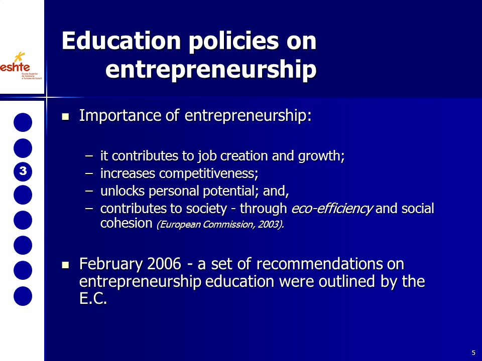 5 Education policies on entrepreneurship 3 Importance of entrepreneurship: Importance of entrepreneurship: –it contributes to job creation and growth; –increases competitiveness; –unlocks personal potential; and, –contributes to society - through eco-efficiency and social cohesion (European Commission, 2003).