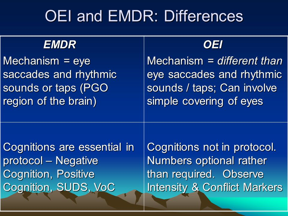 OEI and EMDR: Differences EMDR EMDR Mechanism = eye saccades and rhythmic sounds or taps (PGO region of the brain) OEI OEI Mechanism = different than
