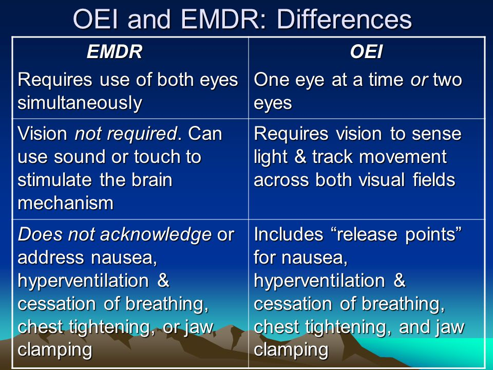 OEI and EMDR: Differences EMDR EMDR Requires use of both eyes simultaneously OEI OEI One eye at a time or two eyes Vision not required. Can use sound