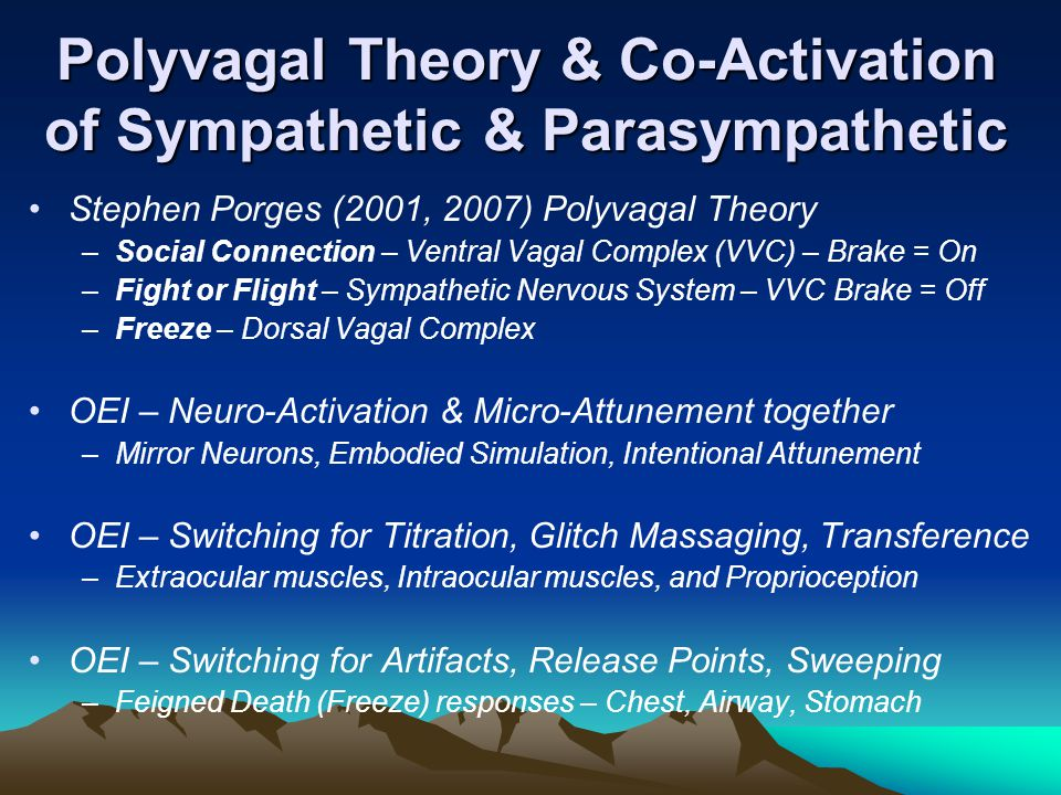 Key External Events 2 2004: Combine OEI with body therapies (massage) Start arc patterns to reduce lens refocusing 2005-6: Comparative experimental RCT (18-mo RCT) Titrate with therapist body & face, postures 2007-8: 20+ conference papers, OEI Client Handbook Glitch massage: proximal-distal movements