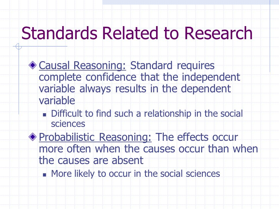 Standards Related to Research Causal Reasoning: Standard requires complete confidence that the independent variable always results in the dependent va