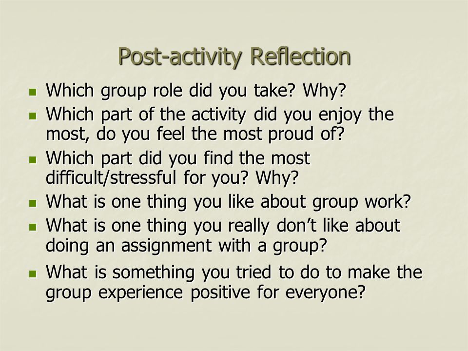 Post-activity Reflection Which group role did you take.