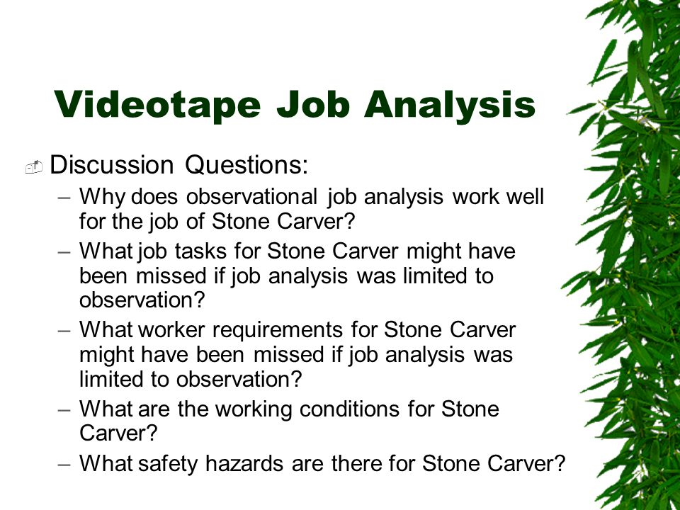 Videotape Job Analysis  Discussion Questions: –Why does observational job analysis work well for the job of Stone Carver.
