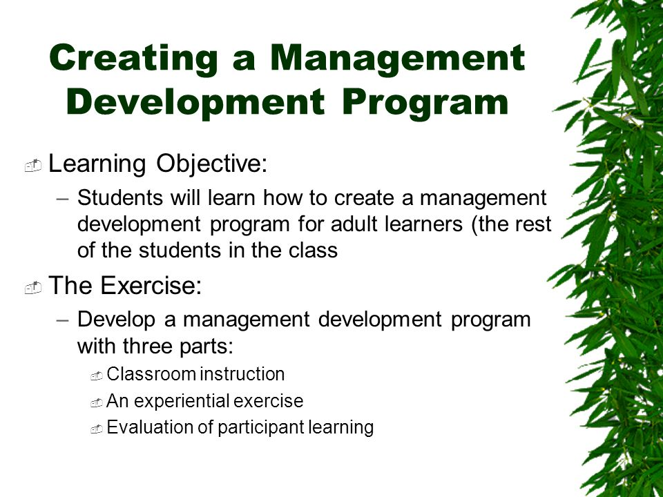 Creating a Management Development Program  Learning Objective: –Students will learn how to create a management development program for adult learners (the rest of the students in the class  The Exercise: –Develop a management development program with three parts:  Classroom instruction  An experiential exercise  Evaluation of participant learning