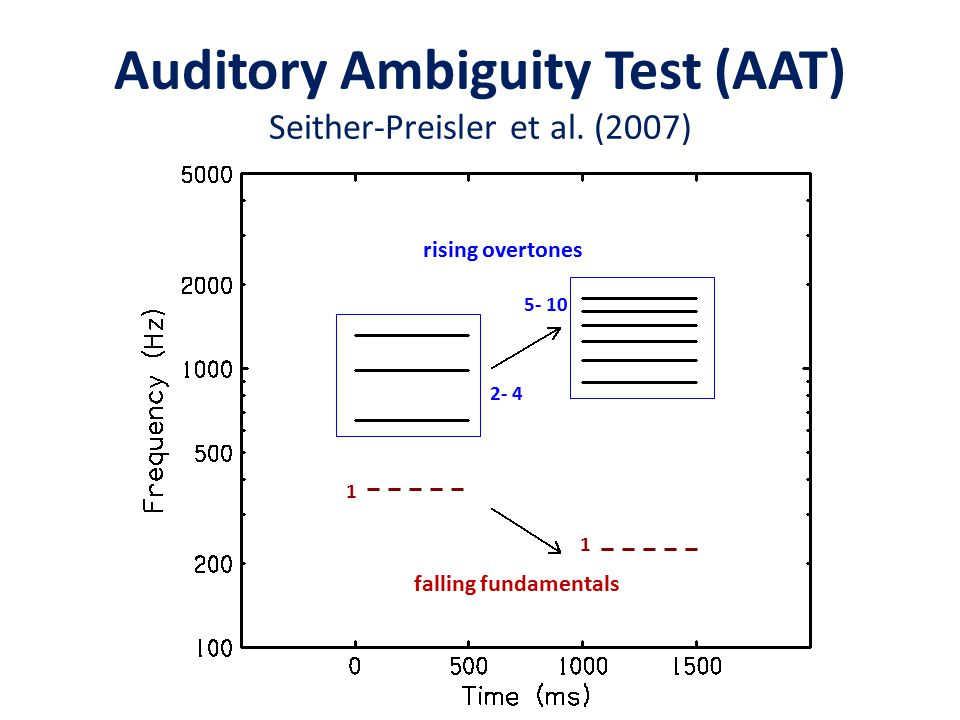 2- 4 5- 10 1 1 rising overtones falling fundamentals Auditory Ambiguity Test (AAT) Seither-Preisler et al. (2007)