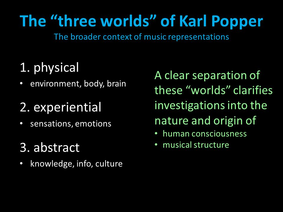 "The ""three worlds"" of Karl Popper The broader context of music representations 1. physical environment, body, brain 2. experiential sensations, emotio"