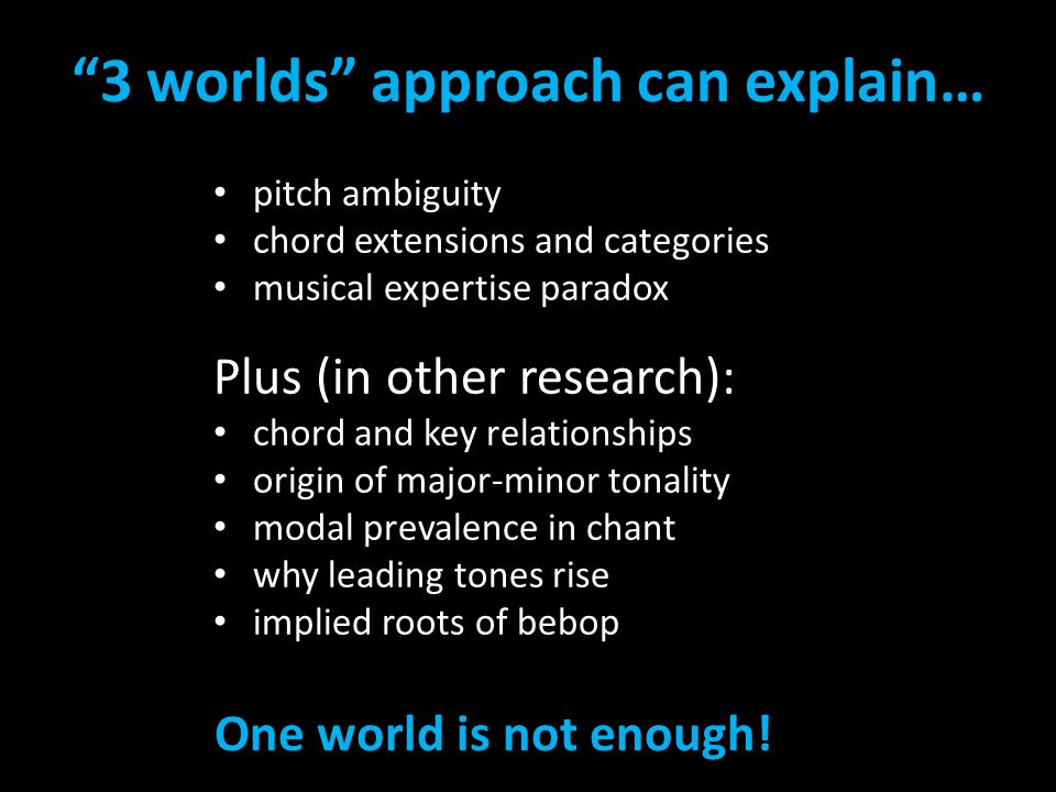 """3 worlds"" approach can explain… pitch ambiguity chord extensions and categories musical expertise paradox Plus (in other research): chord and key rel"