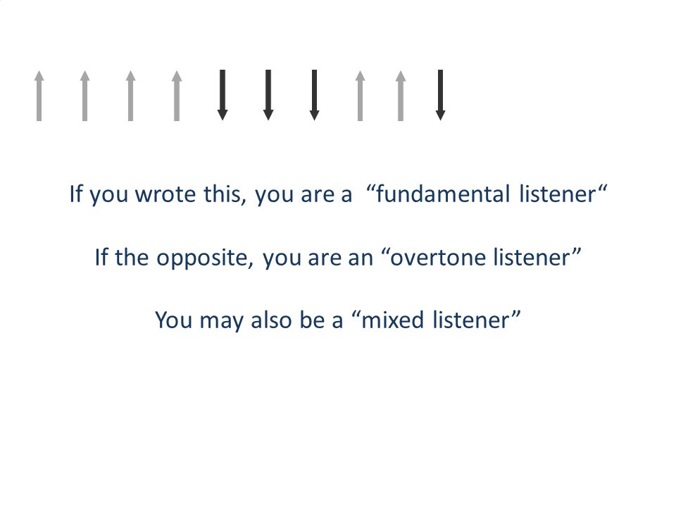 "If you wrote this, you are a ""fundamental listener"" If the opposite, you are an ""overtone listener"" You may also be a ""mixed listener"""