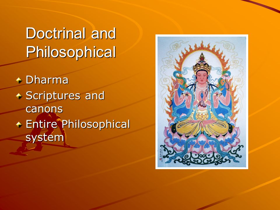 Doctrinal and Philosophical Dharma Scriptures and canons Entire Philosophical system