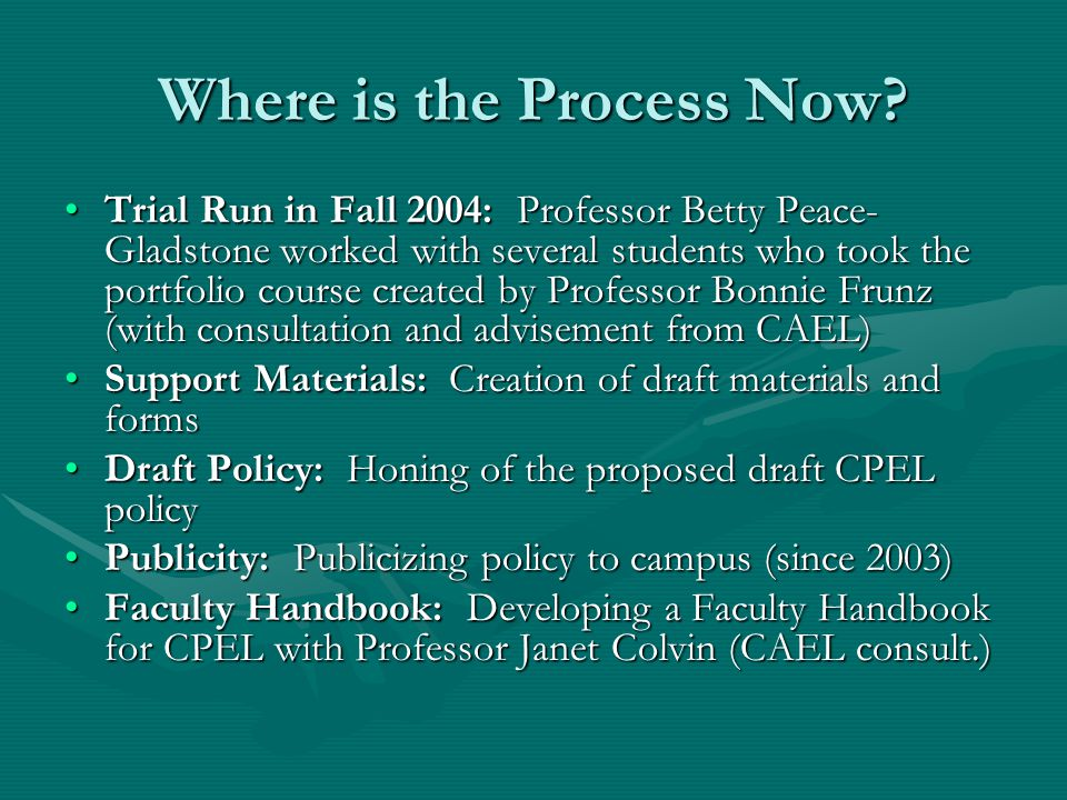 Where is the Process Now? Trial Run in Fall 2004: Professor Betty Peace- Gladstone worked with several students who took the portfolio course created