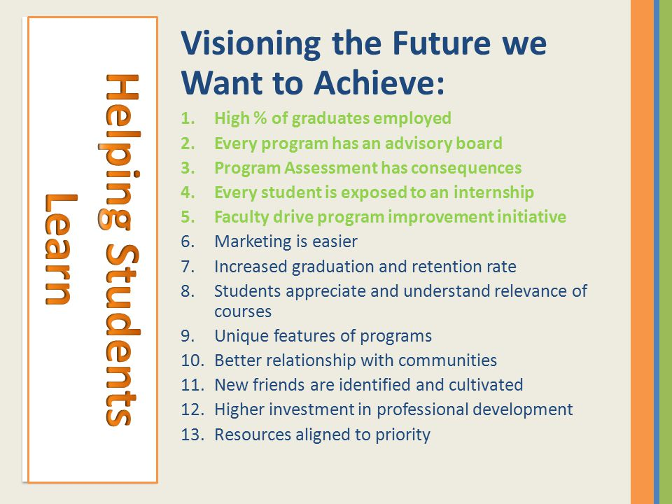 Visioning the Future we Want to Achieve: 1.High % of graduates employed 2.Every program has an advisory board 3.Program Assessment has consequences 4.Every student is exposed to an internship 5.Faculty drive program improvement initiative 6.Marketing is easier 7.Increased graduation and retention rate 8.Students appreciate and understand relevance of courses 9.Unique features of programs 10.Better relationship with communities 11.New friends are identified and cultivated 12.Higher investment in professional development 13.Resources aligned to priority