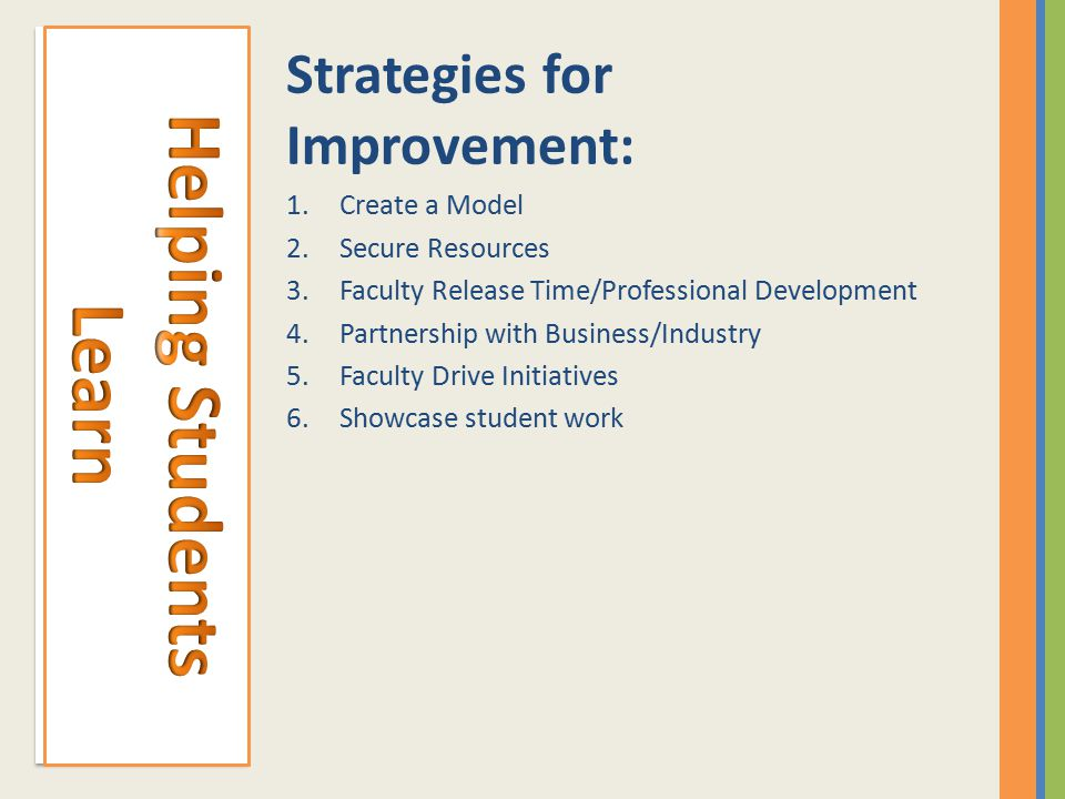 Strategies for Improvement: 1.Create a Model 2.Secure Resources 3.Faculty Release Time/Professional Development 4.Partnership with Business/Industry 5.Faculty Drive Initiatives 6.Showcase student work