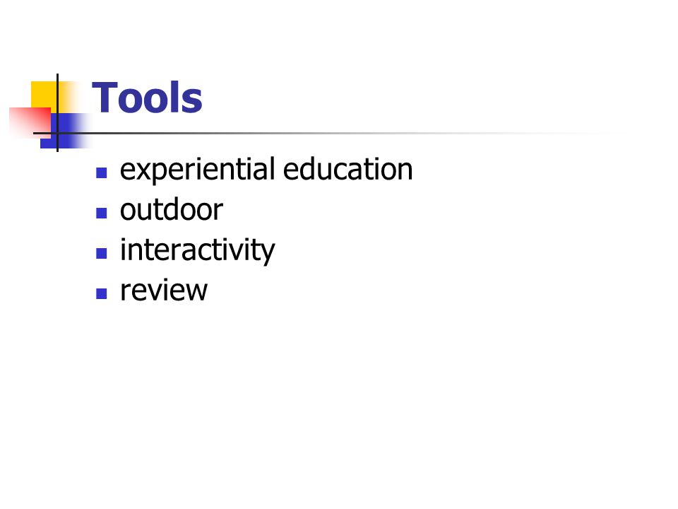 Experiential education = learning by doing
