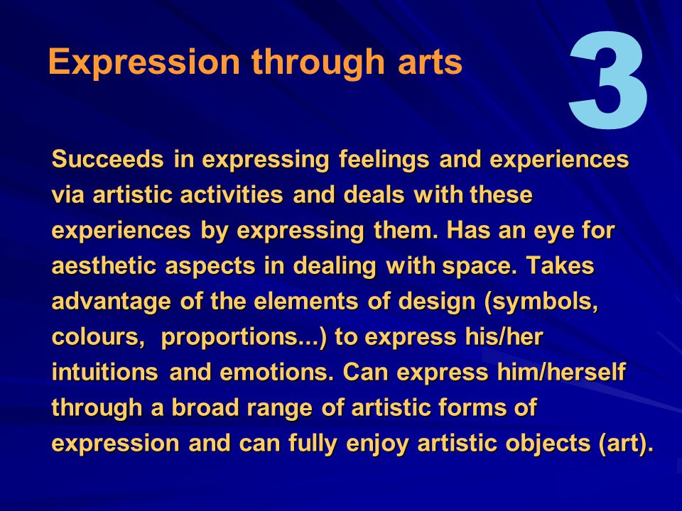 Succeeds in expressing feelings and experiences via artistic activities and deals with these experiences by expressing them.