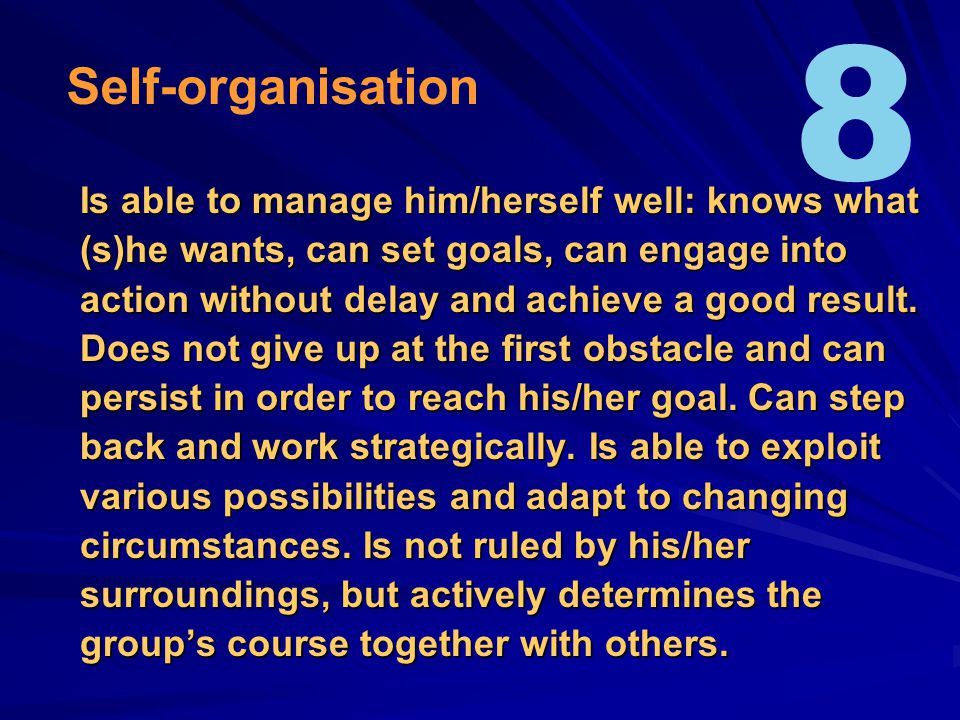 Is able to manage him/herself well: knows what (s)he wants, can set goals, can engage into action without delay and achieve a good result.