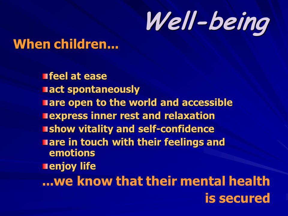 Well-being When children...