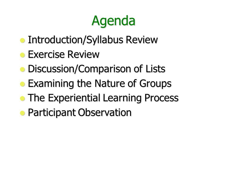 Agenda Introduction/Syllabus Review Introduction/Syllabus Review Exercise Review Exercise Review Discussion/Comparison of Lists Discussion/Comparison of Lists Examining the Nature of Groups Examining the Nature of Groups The Experiential Learning Process The Experiential Learning Process Participant Observation Participant Observation