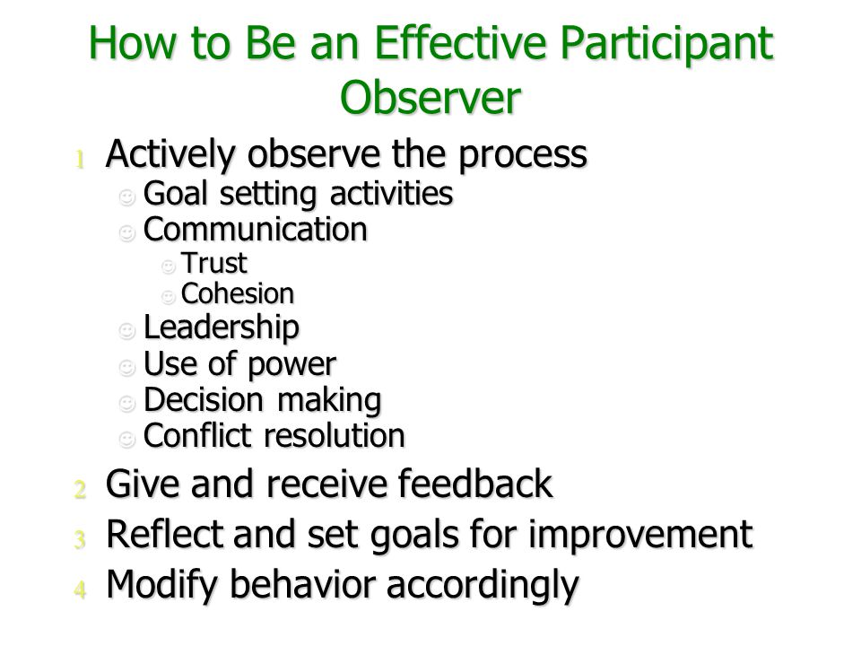 How to Be an Effective Participant Observer 1 Actively observe the process Goal setting activities Goal setting activities Communication Communication Trust Trust Cohesion Cohesion Leadership Leadership Use of power Use of power Decision making Decision making Conflict resolution Conflict resolution 2 Give and receive feedback 3 Reflect and set goals for improvement 4 Modify behavior accordingly