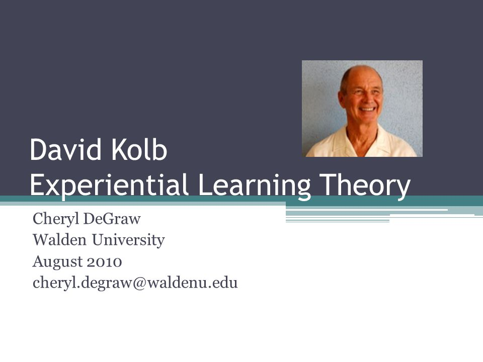 Objectives Define Experiential Learning Theory Review theoretical backgrounds Discuss four processes of learning Explain four learning stages Discuss four learning styles Apply Experiential Learning theory in education Review similarities and critique of theory