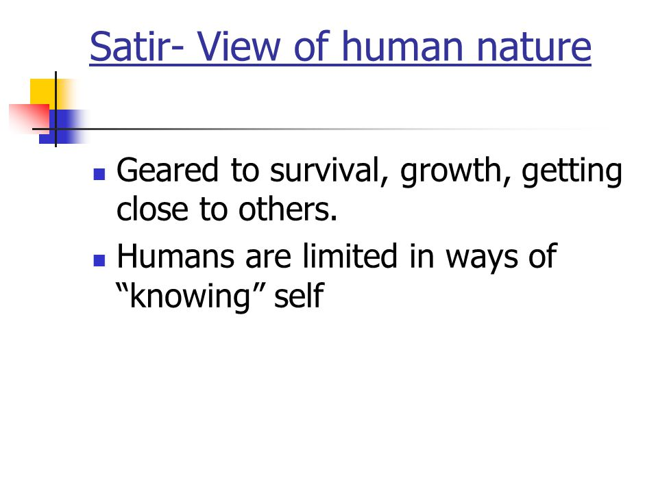 """Satir- View of human nature Geared to survival, growth, getting close to others. Humans are limited in ways of """"knowing"""" self"""