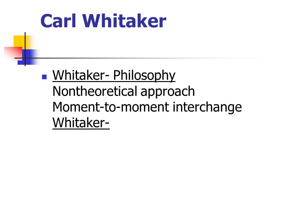Carl Whitaker Whitaker- Philosophy Nontheoretical approach Moment-to-moment interchange Whitaker-
