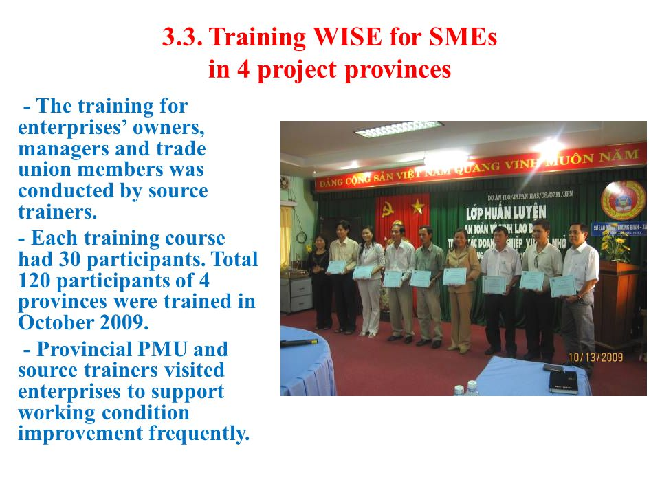 3.3. Training WISE for SMEs in 4 project provinces - The training for enterprises' owners, managers and trade union members was conducted by source tr