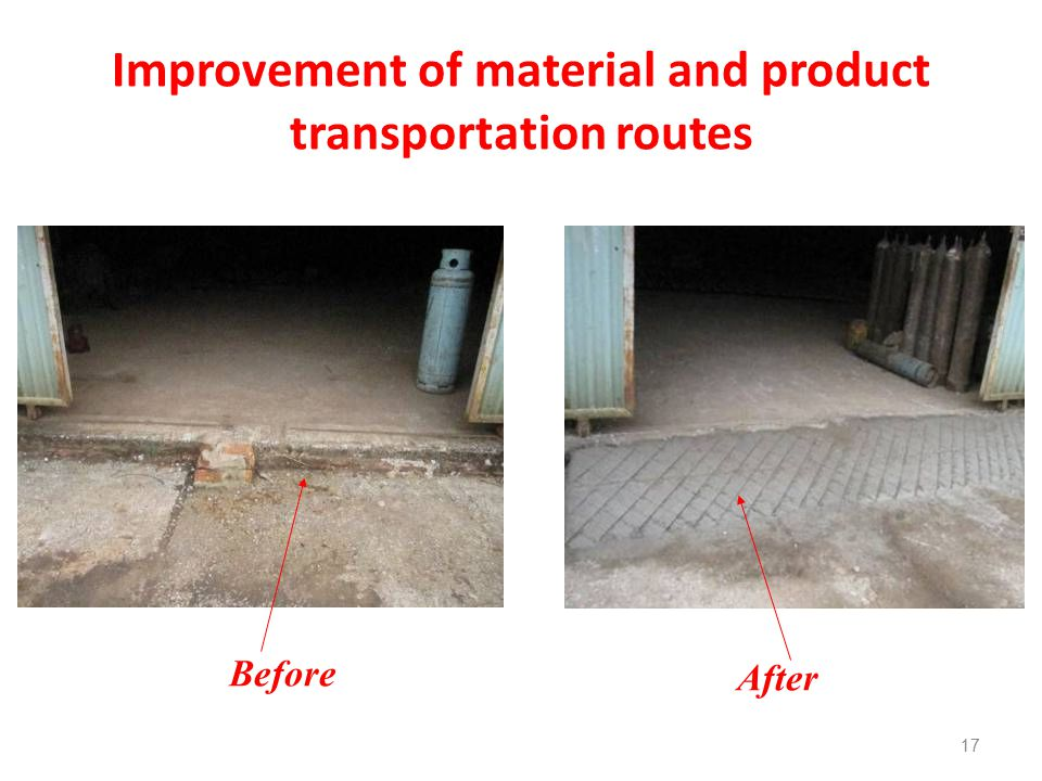 Improvement of material and product transportation routes 17 After Before