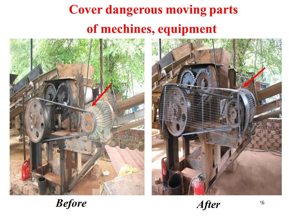 26 Before After Cover dangerous moving parts of mechines, equipment