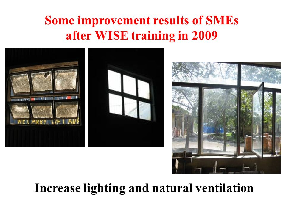 Some improvement results of SMEs after WISE training in 2009 Increase lighting and natural ventilation