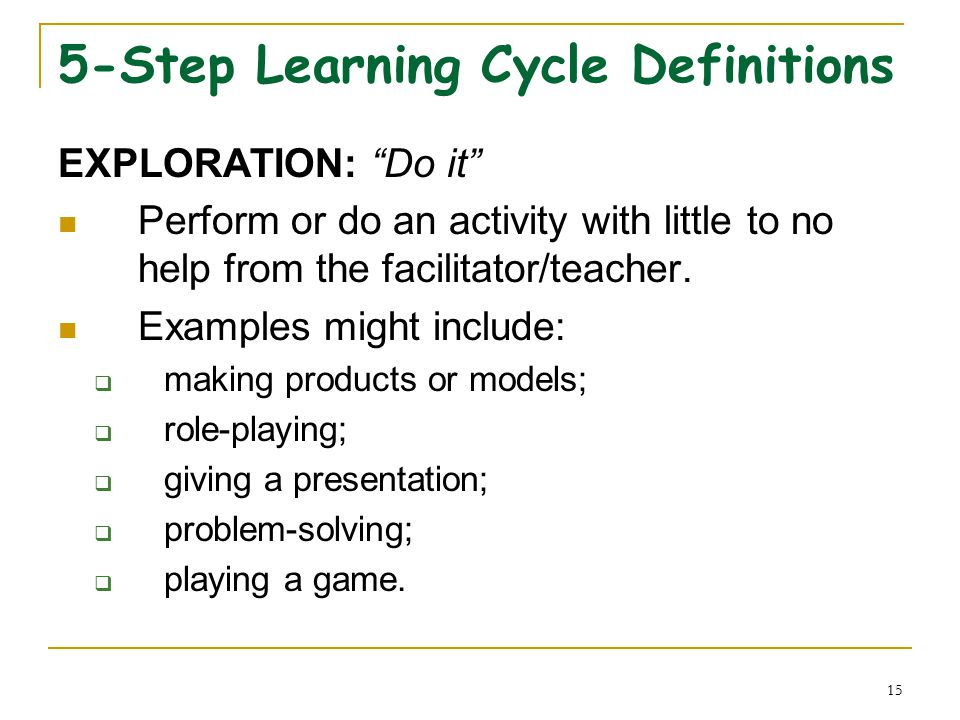 15 5-Step Learning Cycle Definitions EXPLORATION: Do it Perform or do an activity with little to no help from the facilitator/teacher.