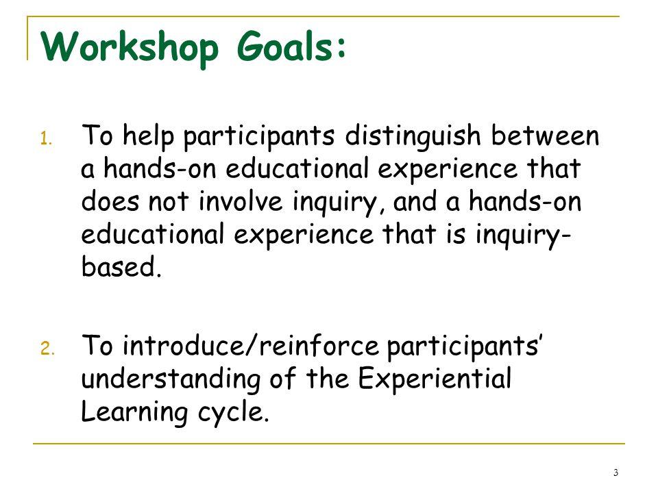 3 Workshop Goals: 1.