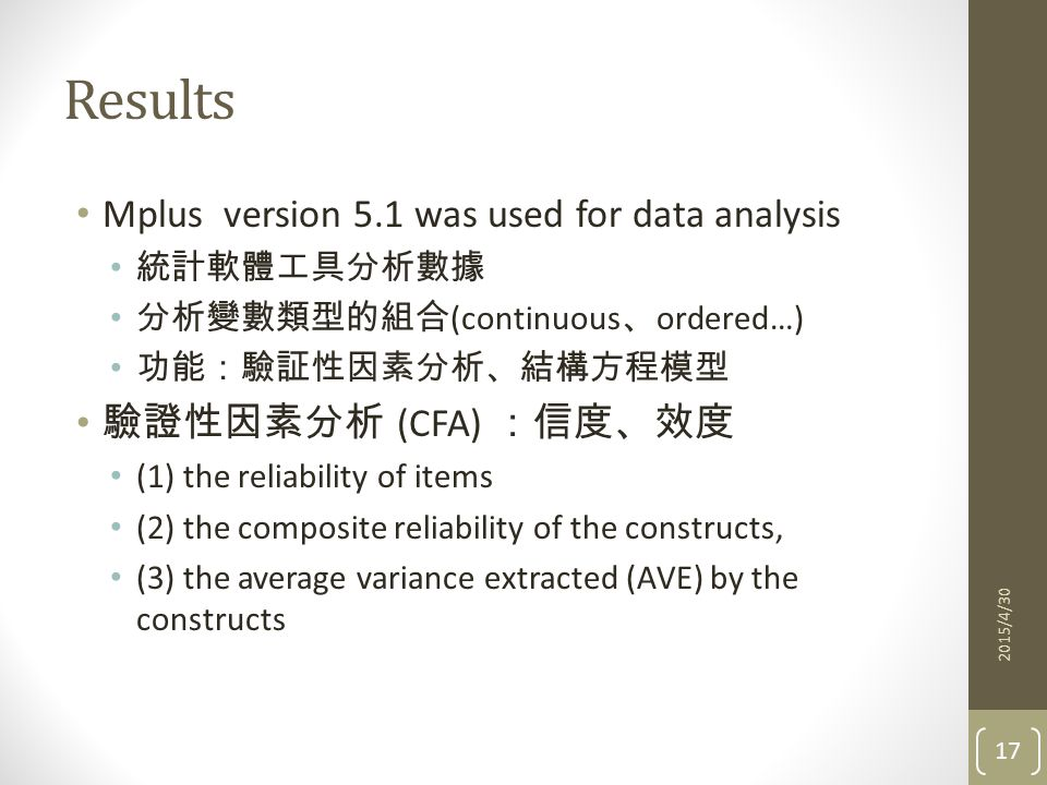 Results 17 2015/4/30 Mplus version 5.1 was used for data analysis 統計軟體工具分析數據 分析變數類型的組合 (continuous 、 ordered…) 功能:驗証性因素分析、結構方程模型 驗證性因素分析 (CFA) :信度、效度 (1) the reliability of items (2) the composite reliability of the constructs, (3) the average variance extracted (AVE) by the constructs
