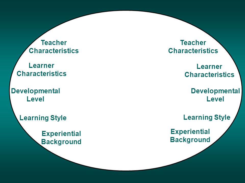 a aa Developmental Level Teacher Characteristics Learner Characteristics Learning Style Experiential Background Teacher Characteristics Learner Characteristics Learning Style Experiential Background Developmental Level