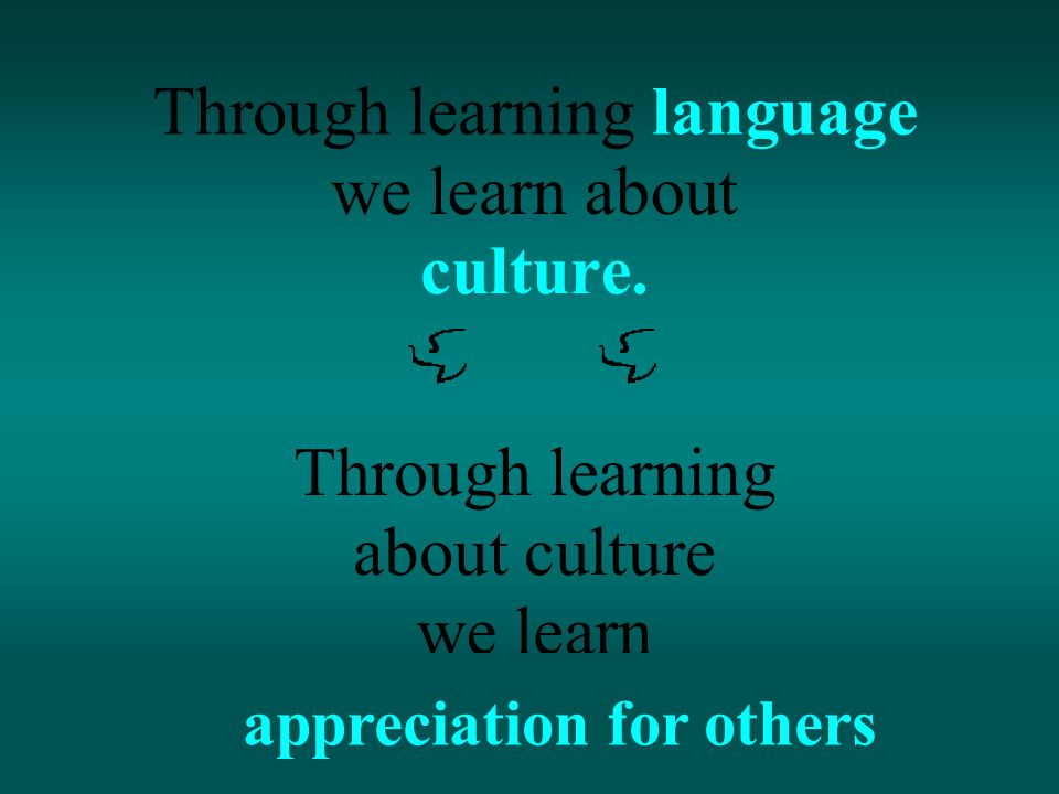 Throughlearninglanguage we learn about culture.