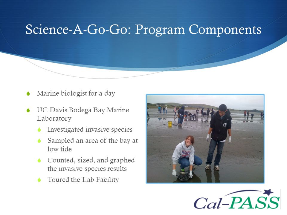 Science-A-Go-Go: Program Components  Marine biologist for a day  UC Davis Bodega Bay Marine Laboratory  Investigated invasive species  Sampled an area of the bay at low tide  Counted, sized, and graphed the invasive species results  Toured the Lab Facility