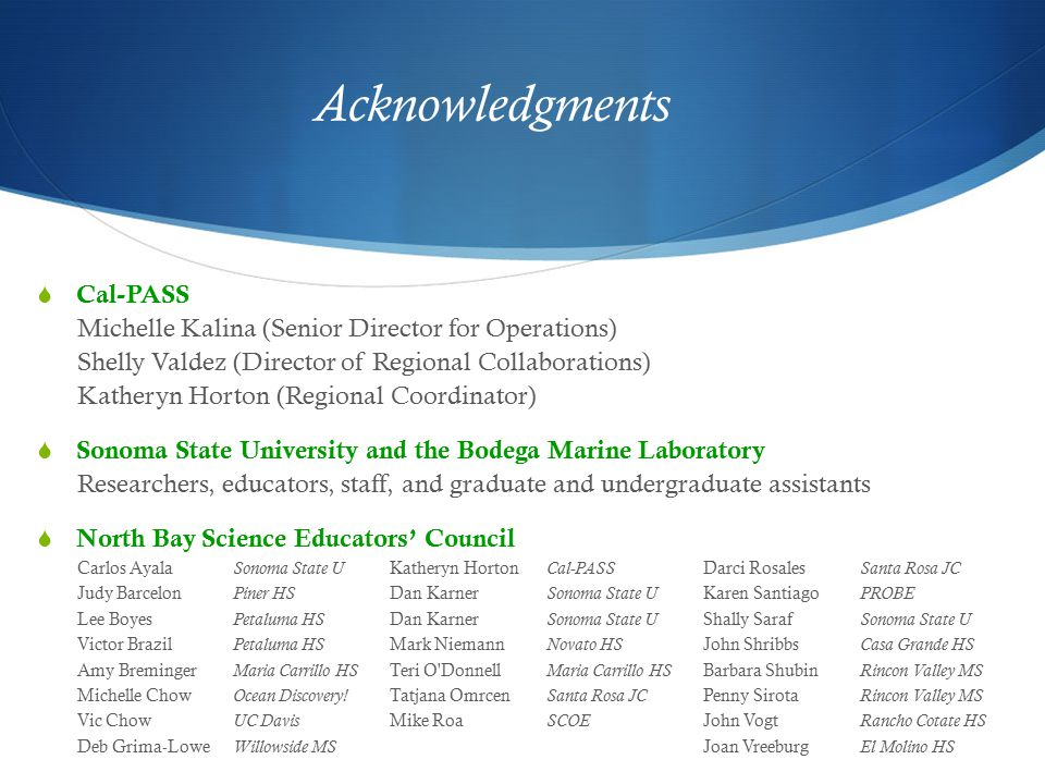 Acknowledgments  Cal-PASS Michelle Kalina (Senior Director for Operations) Shelly Valdez (Director of Regional Collaborations) Katheryn Horton (Regional Coordinator)  Sonoma State University and the Bodega Marine Laboratory Researchers, educators, staff, and graduate and undergraduate assistants  North Bay Science Educators' Council Carlos Ayala Sonoma State U Katheryn Horton Cal-PASS Darci Rosales Santa Rosa JC Judy Barcelon Piner HS Dan Karner Sonoma State U Karen Santiago PROBE Lee Boyes Petaluma HS Dan Karner Sonoma State U Shally Saraf Sonoma State U Victor Brazil Petaluma HS Mark Niemann Novato HS John Shribbs Casa Grande HS Amy Breminger Maria Carrillo HS Teri O Donnell Maria Carrillo HS Barbara Shubin Rincon Valley MS Michelle Chow Ocean Discovery.