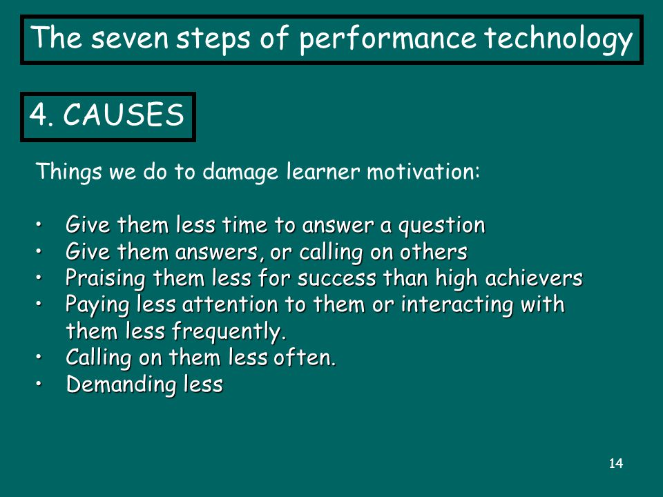 14 The seven steps of performance technology 4. CAUSES Things we do to damage learner motivation: Give them less time to answer a question Give them l