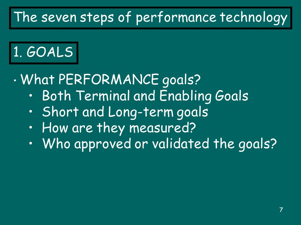 7 The seven steps of performance technology 1.GOALS What PERFORMANCE goals.