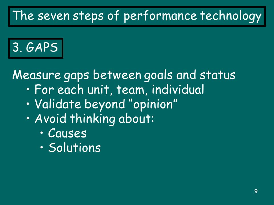"""9 The seven steps of performance technology 3. GAPS Measure gaps between goals and status For each unit, team, individual Validate beyond """"opinion"""" Av"""