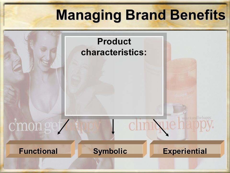 Managing Brand Benefits Product characteristics: ExperientialSymbolicFunctional