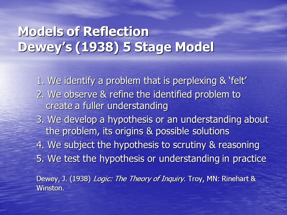 Models of Reflection Dewey's (1938) 5 Stage Model 1. We identify a problem that is perplexing & 'felt' 2. We observe & refine the identified problem t