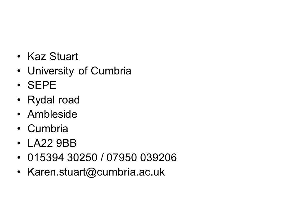 Kaz Stuart University of Cumbria SEPE Rydal road Ambleside Cumbria LA22 9BB 015394 30250 / 07950 039206 Karen.stuart@cumbria.ac.uk