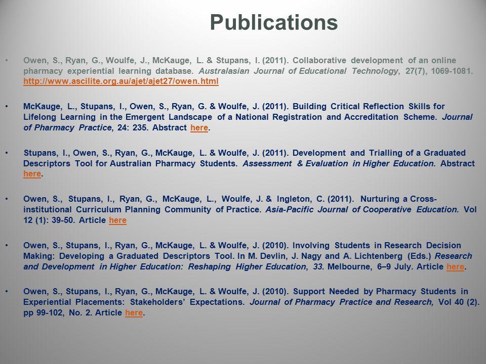 Publications Owen, S., Ryan, G., Woulfe, J., McKauge, L.