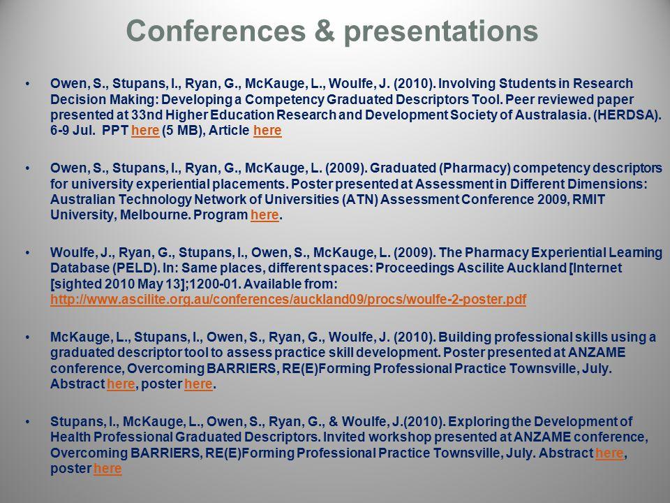 Conferences & presentations Owen, S., Stupans, I., Ryan, G., McKauge, L., Woulfe, J.