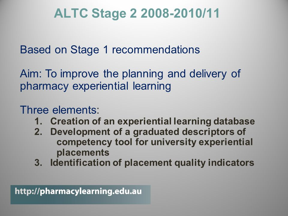 ALTC Stage 2 2008-2010/11 Based on Stage 1 recommendations Aim: To improve the planning and delivery of pharmacy experiential learning Three elements: 1.