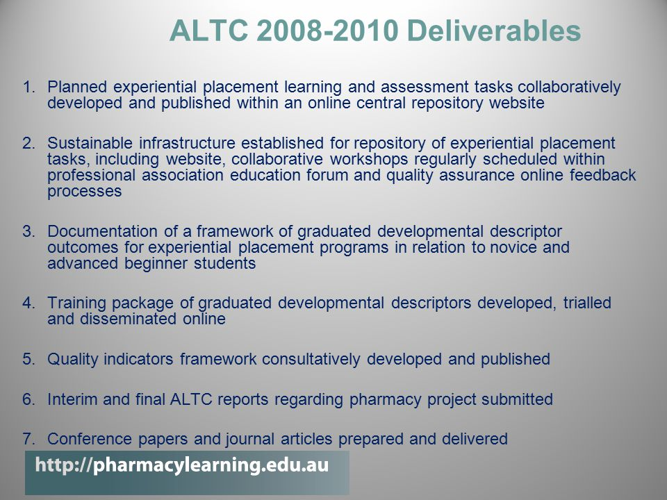 ALTC 2008-2010 Deliverables 1.Planned experiential placement learning and assessment tasks collaboratively developed and published within an online central repository website 2.Sustainable infrastructure established for repository of experiential placement tasks, including website, collaborative workshops regularly scheduled within professional association education forum and quality assurance online feedback processes 3.Documentation of a framework of graduated developmental descriptor outcomes for experiential placement programs in relation to novice and advanced beginner students 4.Training package of graduated developmental descriptors developed, trialled and disseminated online 5.Quality indicators framework consultatively developed and published 6.Interim and final ALTC reports regarding pharmacy project submitted 7.Conference papers and journal articles prepared and delivered